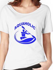 Aquaholic kayak guy classic round geek funny nerd Women's Relaxed Fit T-Shirt