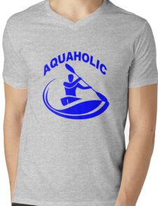 Aquaholic kayak guy classic round geek funny nerd Mens V-Neck T-Shirt