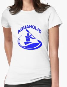 Aquaholic kayak guy classic round geek funny nerd Womens Fitted T-Shirt