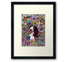 Lady in Butterflies - Brittany Spaniel Framed Print