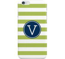 Monogram Letter V with Modern Stripes iPhone Case/Skin