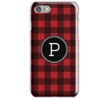 Monogram Letter P with buffalo plaid iPhone Case/Skin