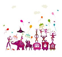 colorful circus carnival traveling in one row on white background by nuanz