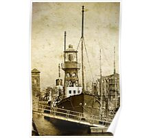 Lighthouse ship Helwick, Swansea, Wales Poster