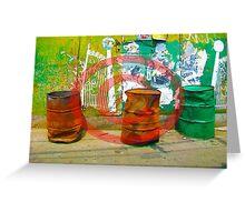 3 Oil Drums Greeting Card