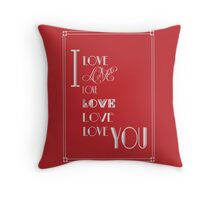 I Love You Art Deco Style in Red Throw Pillow