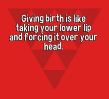 Giving birth is like taking your lower lip and forcing it over your head. by margdbrown