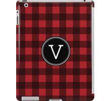 Monogram Letter V with buffalo plaid iPad Case/Skin