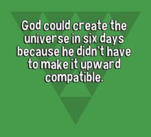 God could create the universe in six days because he didn't have to make it upward compatible. by margdbrown