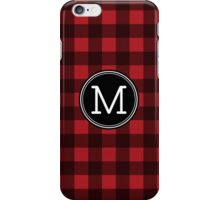Monogram Letter M with buffalo plaid iPhone Case/Skin