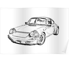 Porsche Carrera Sports Car Illustration Poster
