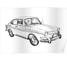 Volkswagen Karmann Ghia Car Illustration  Poster