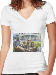 Roy and Minnie Women's Fitted V-Neck T-Shirt