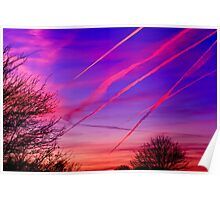 Jet Contrails Over Illinois Poster