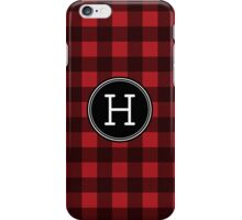 Monogram Letter H with buffalo plaid iPhone Case/Skin