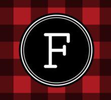 Monogram Letter F with buffalo plaid Sticker