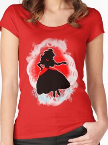 Super Smash Bros. White/Red Fire Peach Silhouette Women's Fitted Scoop T-Shirt