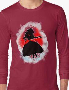 Super Smash Bros. White/Red Fire Peach Silhouette Long Sleeve T-Shirt