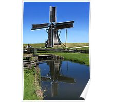 Windmill Reflection In A Pond Poster