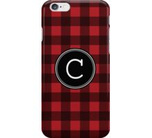 Monogram Letter C with buffalo plaid iPhone Case/Skin