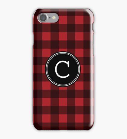 Monogram Letter C with buffalo plaid iPhone Case/Skin
