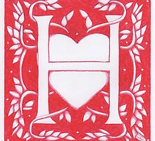 Red Heart Letter H by Donna Huntriss