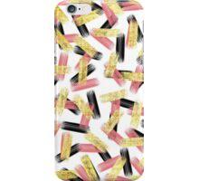 Elegant Pink, Black, and Gold Brushstroke Pattern iPhone Case/Skin