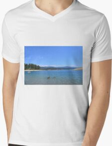 Beautiful landscape picture of blue sky, sand beach, ducks, lake, mountain and trees. Mens V-Neck T-Shirt