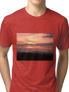 Strong red sunset - Donegal Ireland Tri-blend T-Shirt