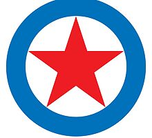 SUPER STAR, Red Star, White Circle, Blue Outer Ring.  by TOM HILL - Designer