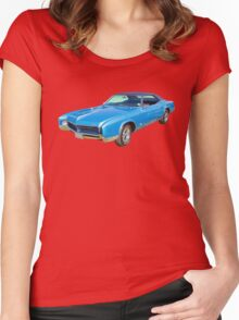 Blue 1967 Buick Riviera Muscle Car Women's Fitted Scoop T-Shirt