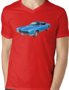 Blue 1967 Buick Riviera Muscle Car Mens V-Neck T-Shirt