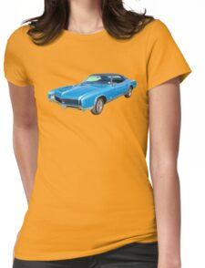 Blue 1967 Buick Riviera Muscle Car Womens Fitted T-Shirt