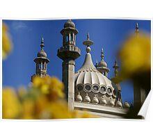 Royal Pavilion through Yellow Flowers Poster