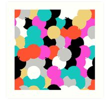 Big overlapping circles in pink grey colors Art Print