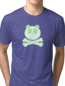 Panda Cross Bone - Green 2 Tri-blend T-Shirt