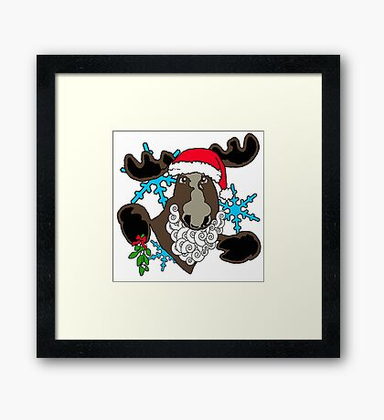 Mistletoe moose  Framed Print