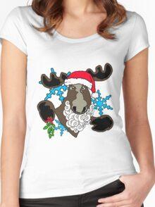 Mistletoe moose  Women's Fitted Scoop T-Shirt
