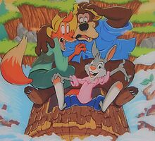 Splash Mountain Bear Fox Rabbit Song of the South by notheothereye