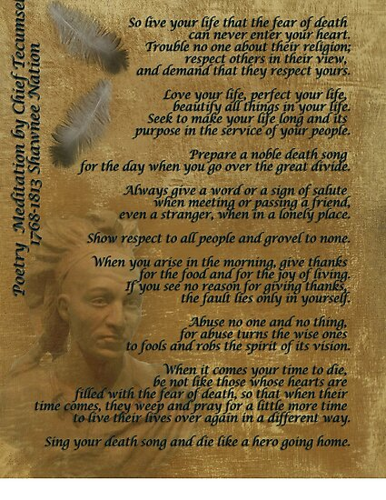 """""""Live Your Life""""  on old parchment, Chief Tecumseh by Irisangel"""