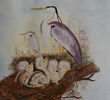 HERON and HER CHICKS - water colour by Marilyn Grimble