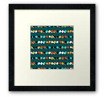 Lines of colorful dots on jade green Framed Print