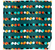 Lines of colorful dots on jade green Poster