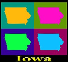 Colorful Iowa Pop Art Map by KWJphotoart