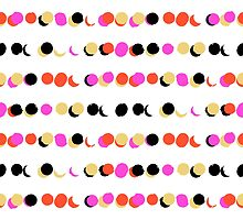 Lines of colorful dots in pink on white green by tukkki