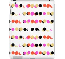 Lines of colorful dots in pink on white green iPad Case/Skin