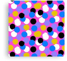 Polka dot print in pink, blue, white, black, yellow colors Canvas Print