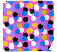 Polka dot print in pink, blue, white, black, yellow colors Poster