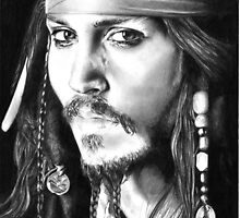 Johnny Depp pencil portrait by inspiredbydesin