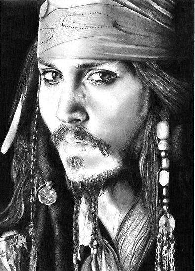 Johnny Depp pencil portrait by inspiredbydesin
